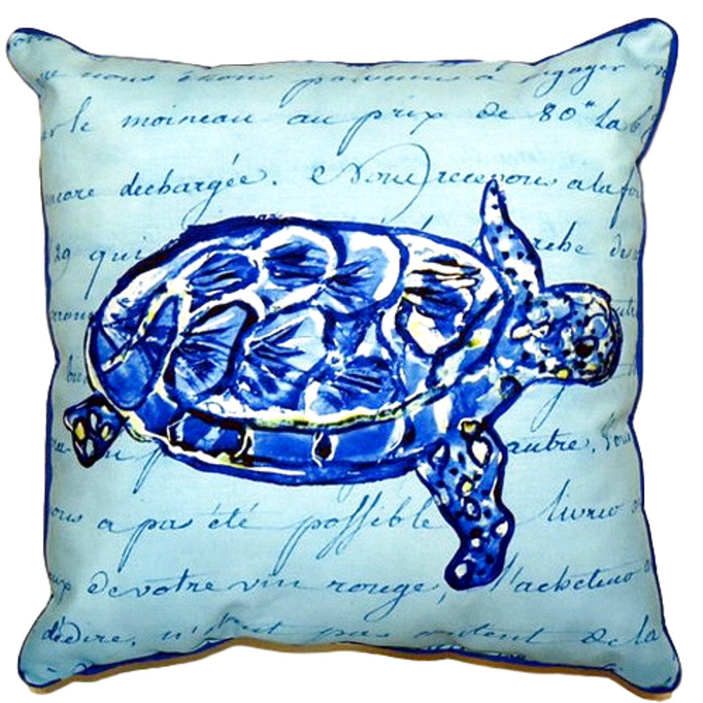 Sea Turtle Blue Script Extra Large Zippered Indoor or Outdoor Pillow 22x22