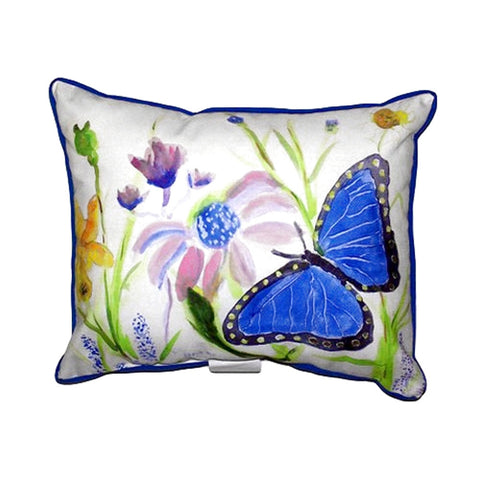 Betsy's Blue Morpho Extra Large Zippered Indoor/Outdoor Pillow 20x2
