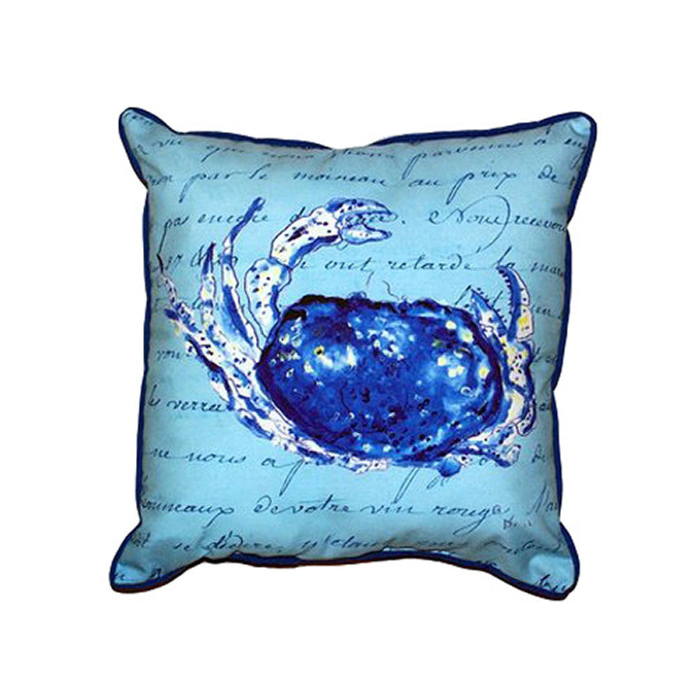 Blue Script Crab Extra Large Zippered Indoor or Outdoor Pillow 22x22