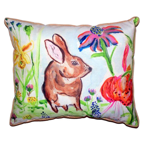 Brown Rabbit Right Extra Large Zippered Indoor or Outdoor Pillow 20x24