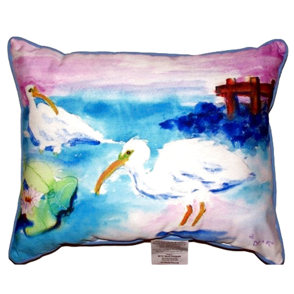 White Ibis Extra Large Zippered Indoor or Outdoor Pillow 20x24