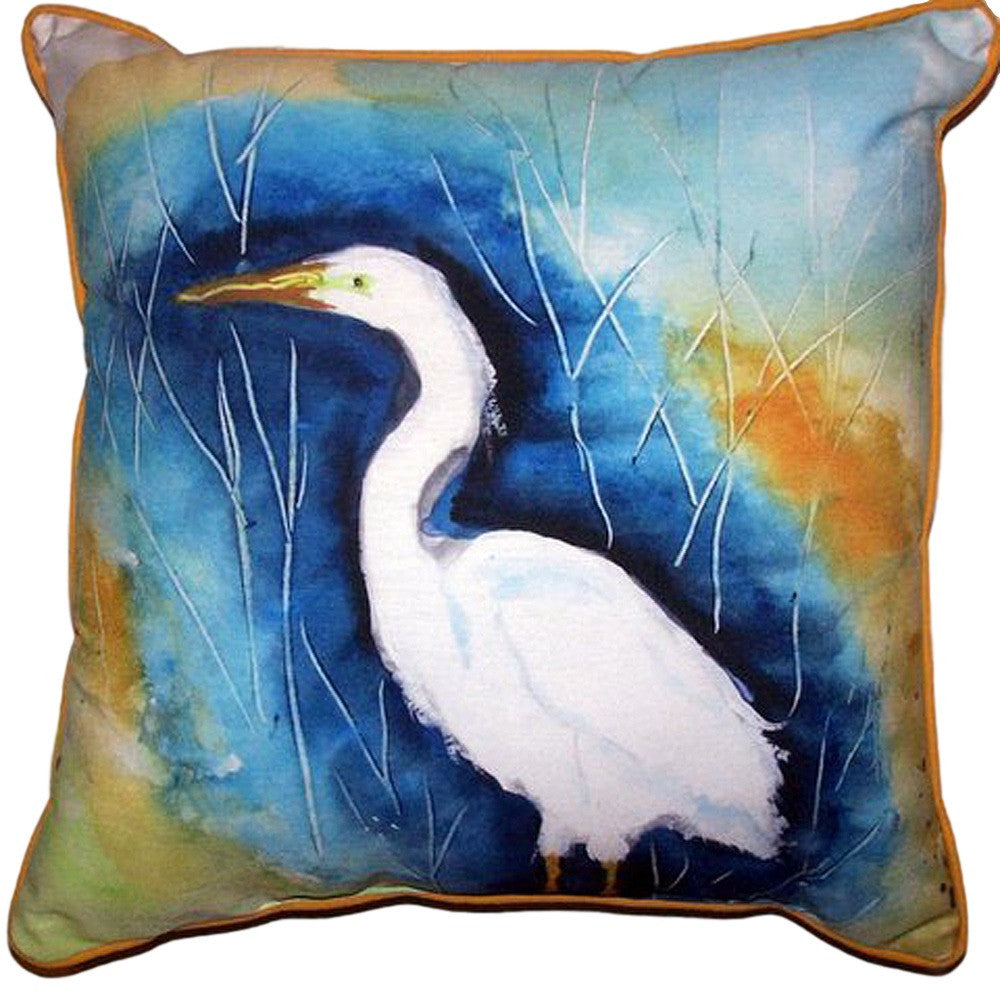 Great Egret Left Extra Large Zippered Indoor or Outdoor Pillow 22x22
