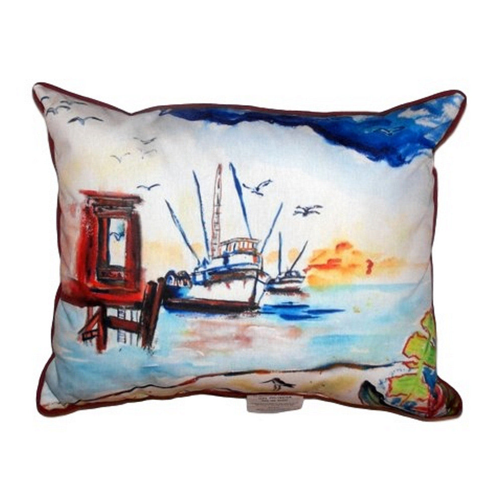 Dock & Shrimp Boat Extra Large Zippered Indoor or Outdoor Pillow 20x24