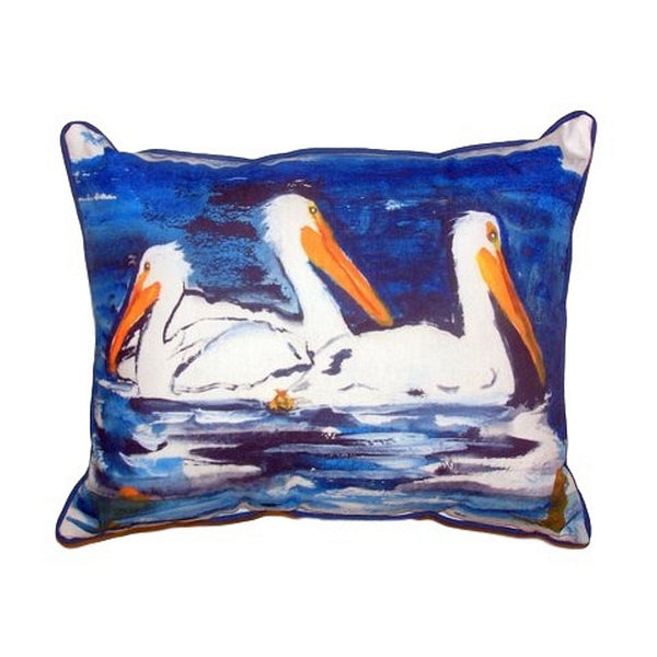 Three Pelicans Extra Large Zippered Indoor or Outdoor Pillow 20x24
