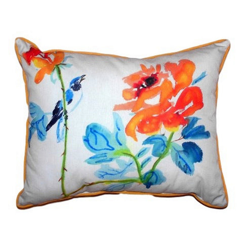 Bird & Roses Extra Large Zippered Indoor or Outdoor Pillow 20x24