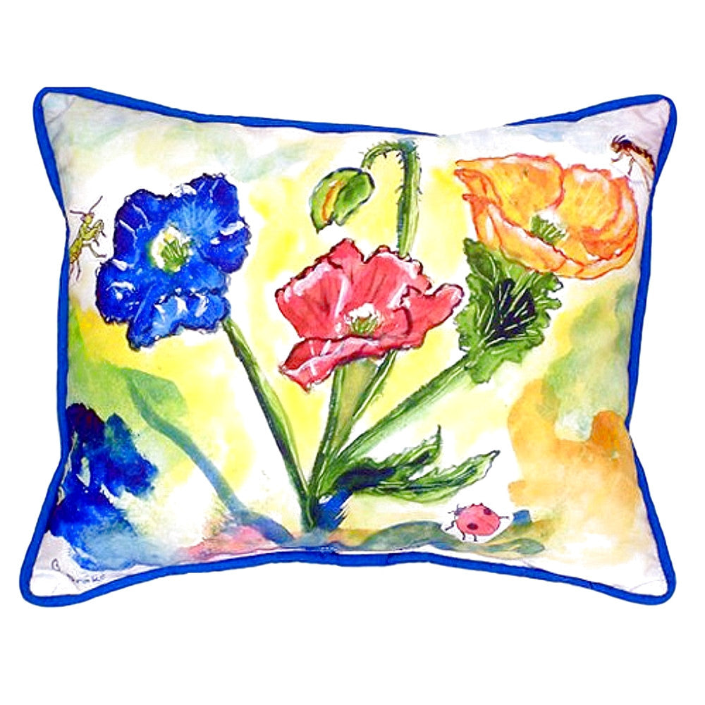 Bugs & Poppies Extra Large Zippered Indoor or Outdoor Pillow 20x24