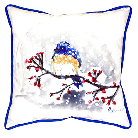 Blue Bird & Snow Extra Large Zippered Indoor or Outdoor Pillow 22x22