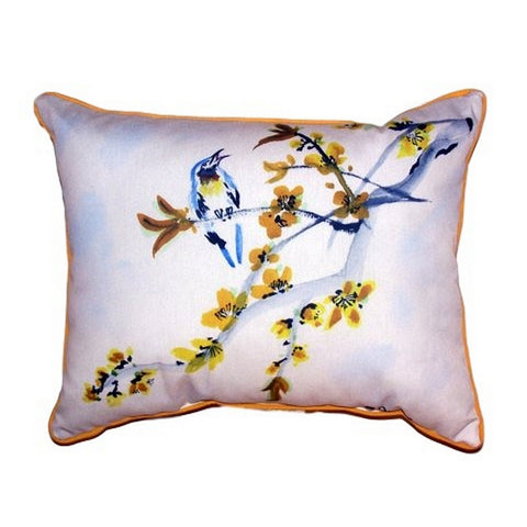 Bird & Forsythia Extra Large Zippered Indoor or Outdoor Pillow 20x24