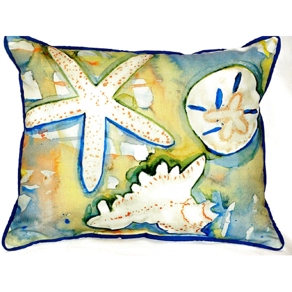 Beach Treasures Extra Large Zippered Indoor or Outdoor Pillow 20x24