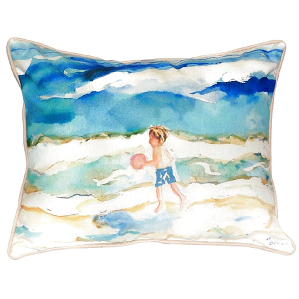 Boy and Ball Extra Large Zippered Indoor or Outdoor Pillow