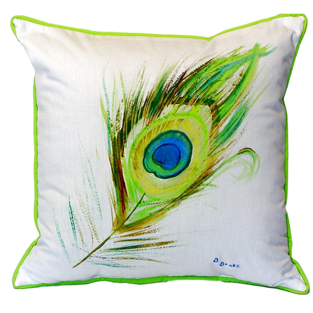Peacock Feather Extra Large Zippered Indoor or Outdoor Pillow 22x22