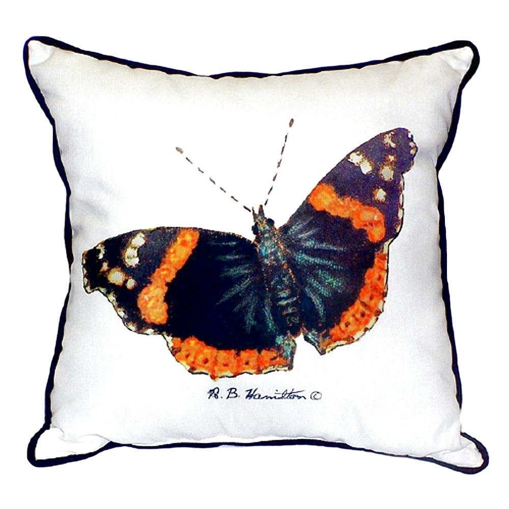 Red Admiral Butterfly Extra Large Zippered Indoor or Outdoor Pillow 22x22
