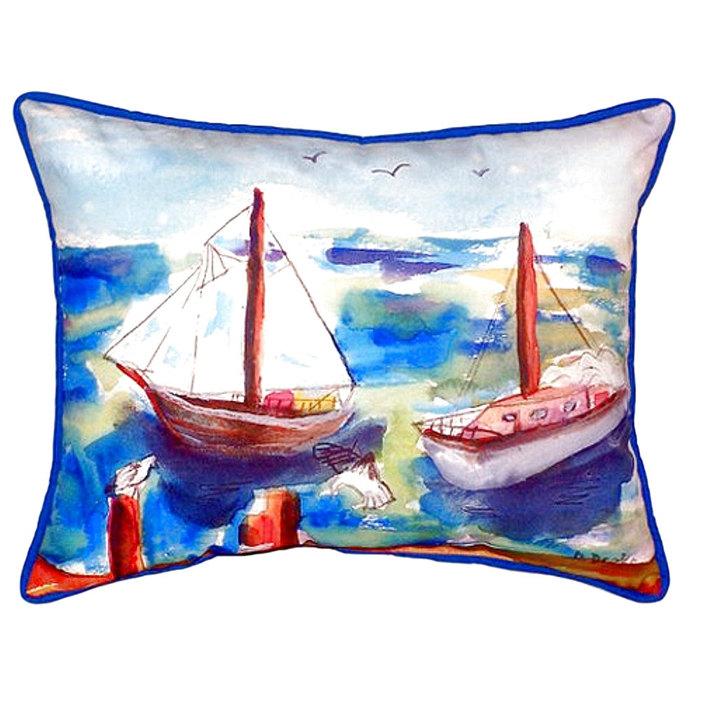 Two Sailboats Extra Large Zippered Indoor or Outdoor Pillow 20x24