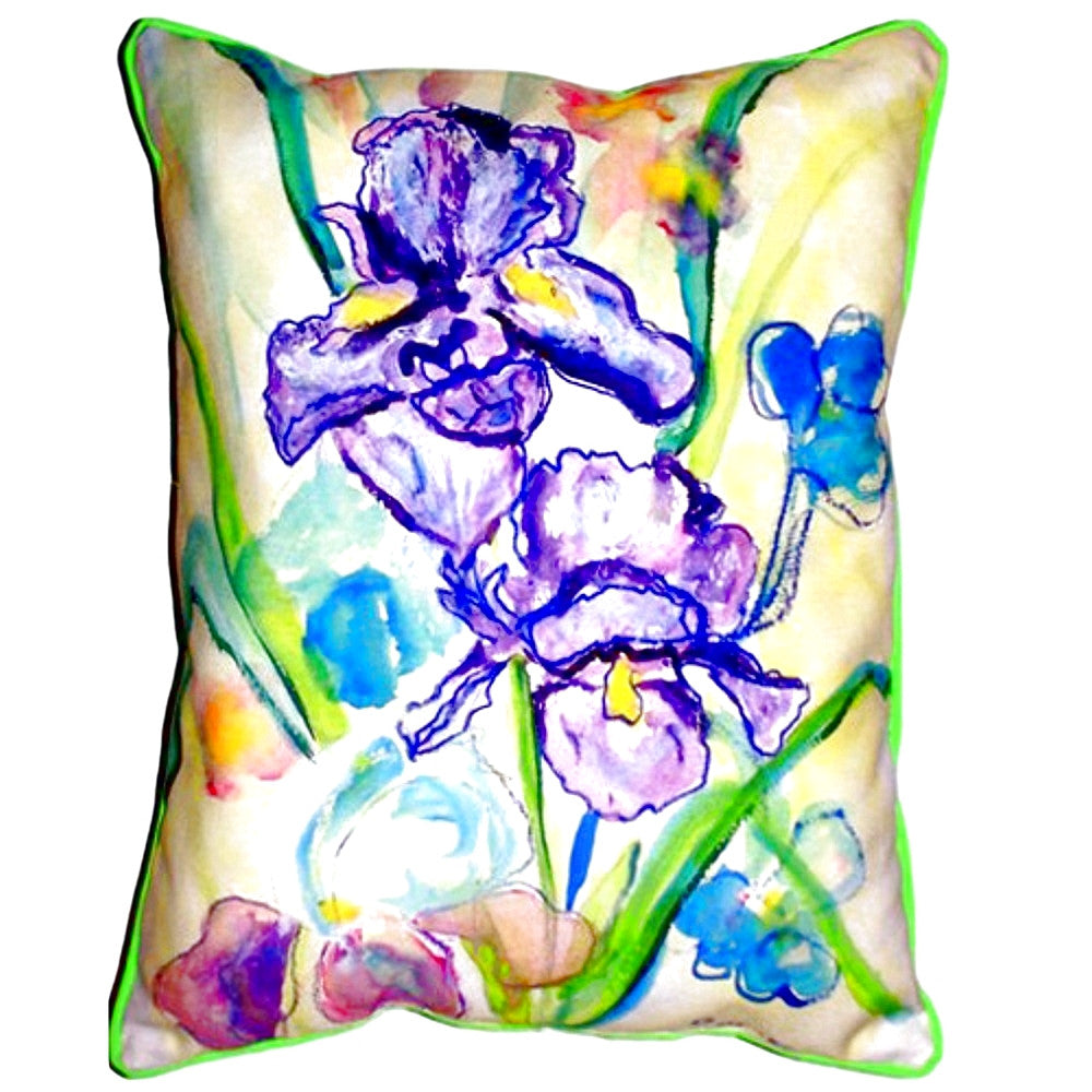 Two Irises Extra Large Zippered Indoor or Outdoor Pillow 20x24