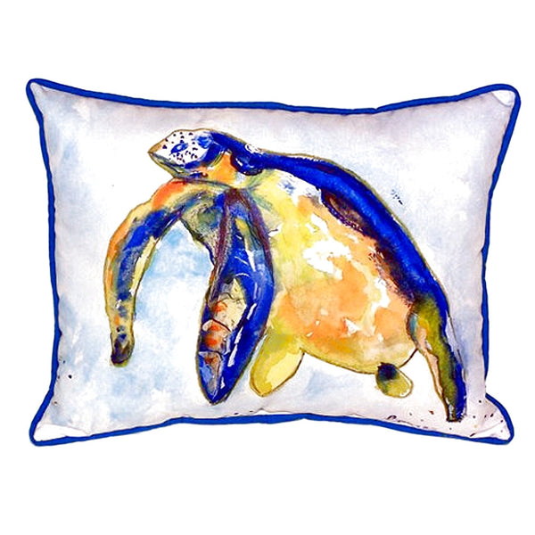 Blue Sea Turtle Left Extra Large Zippered Indoor or Outdoor Pillow 20x24