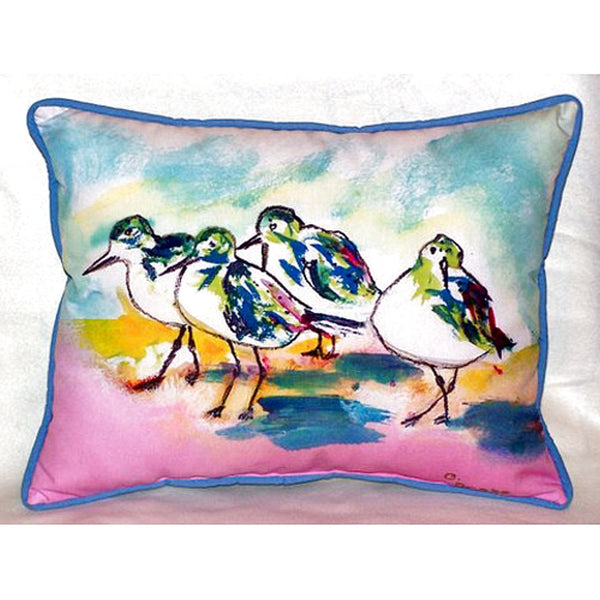 Pink Sanderlings Extra Large Zippered Indoor or Outdoor Pillow 20x24