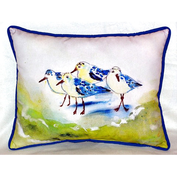 Green Sanderlings Extra Large Zippered Indoor or Outdoor Pillow 20x24&