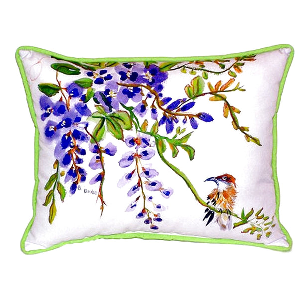 Wisteria & Bird Extra Large Zippered Indoor or Outdoor Pillow 20x24