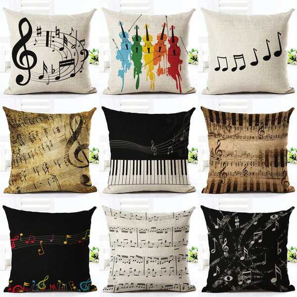 Music Series Note  Printed High Qulity Cotton Linen Decorative Cushion Cover