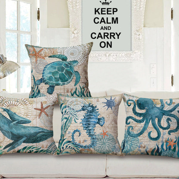 Marine Ocean Style Sea Turtle Patterns Square Cotton Linen Throw Cushion Covers