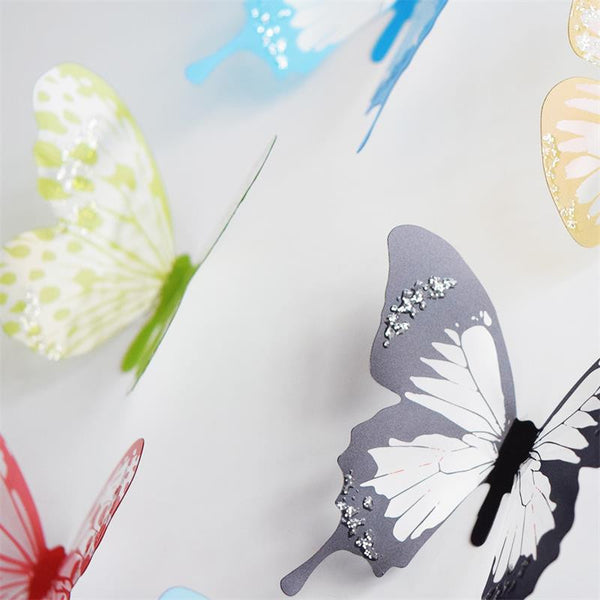 18 Piece Creative Butterflies Removable 3D Wall Stickers Decors