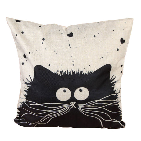Linen Cartoon Cat Decorative Pillowcase