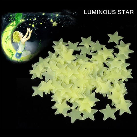 50pcs 3D Stars Glow In The Dark Fluorescent Plastic Wall Stickers