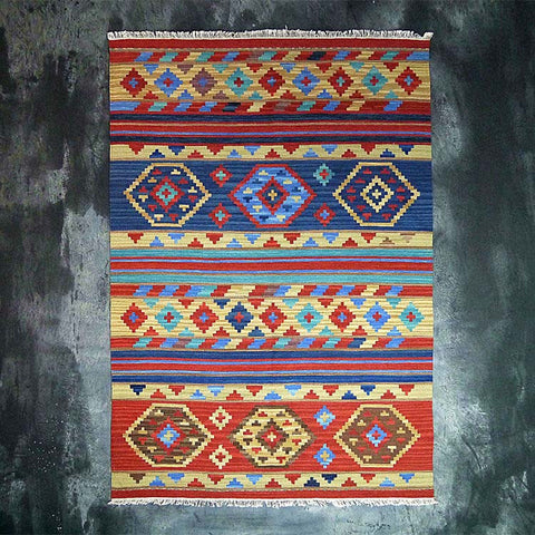 Hand Woven 100% Wool Orange Traditional Turkish Pattern Rug