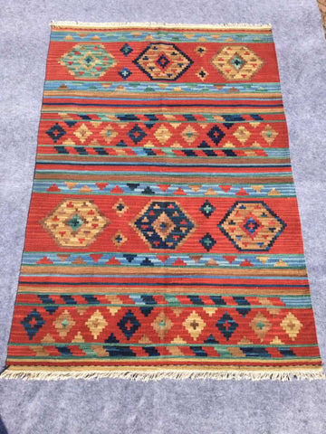 Hand Woven 100% Wool Native Turkish Pattern Rug