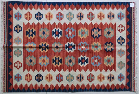 Hand Woven 100% Wool Diamond Pattern Turkish Rug