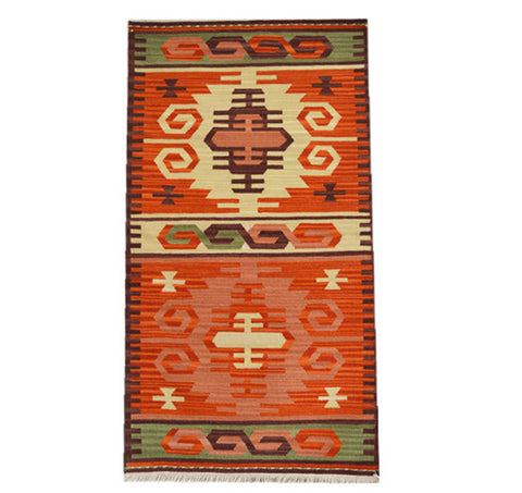 Hand Woven 100% Wool Orange Turkish Pattern Rug
