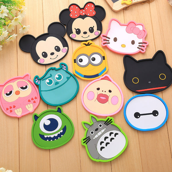 Totoro Hello Kitty Baymax Cute Animal Themed Nonslip Silicon Coaster for Cups and Glasses