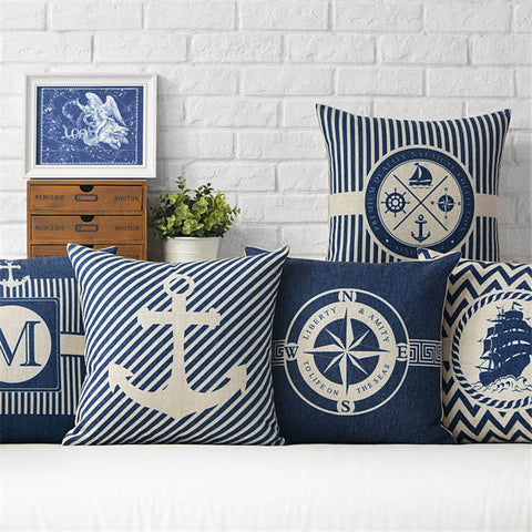 Marine Themed Throw Pillowcase Cotton or Linen