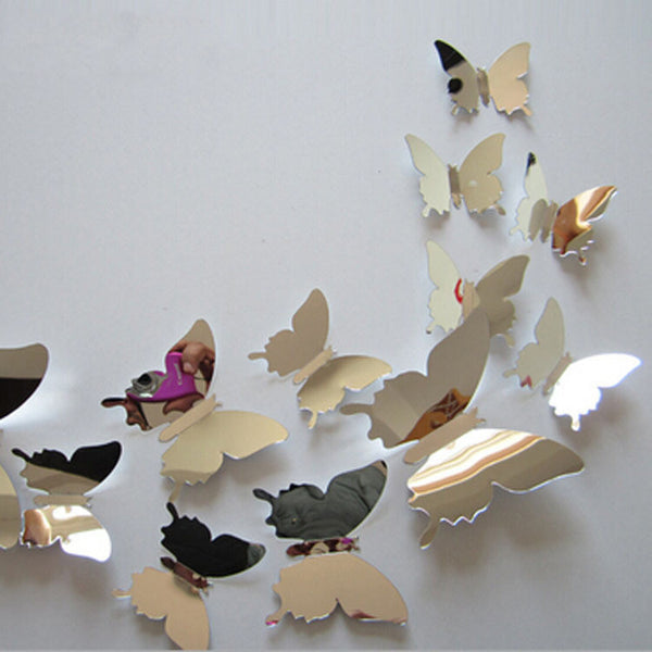12pcs/set Mirror Sliver 3D Butterfly Wall Stickers