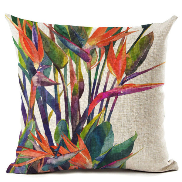 Colorful Flower Green Tropical Plant Leave Birds Themed Pillow Cover