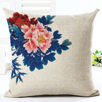 Vintage Flowers Cotton Linen Cushion Cover Decorative Pillowcase