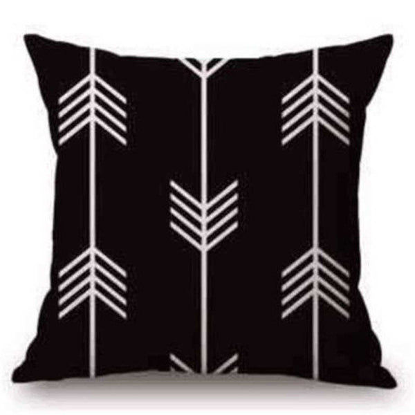 Black and White Geometric Pattern Cotton Linen Printed 18x18 Inches Pillow Case