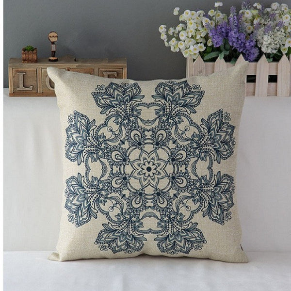Vintage Floral Cotton Linen Throw Pillow Case