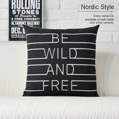 Modern Geometric Love Themed Black and White Linen Pillow Cover