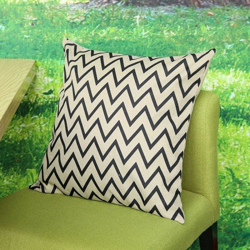 Vintage Retro Look Geometric Linen Pillow Cases