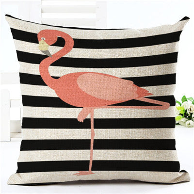 Flamingo Pattern Cotton Linen Throw Pillow Cushion Cover