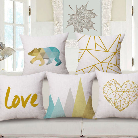 Gold and Teal Love Bear and Mountain Themed Pillow Cases