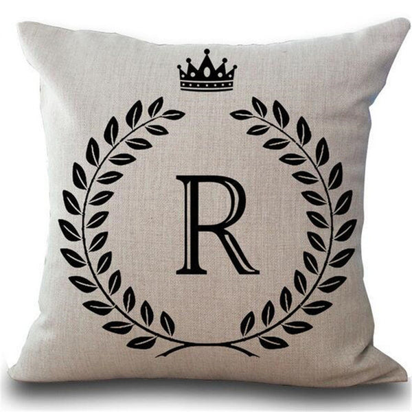 Crown Letter Cotton Linen Throw Pillow Cushion Cover