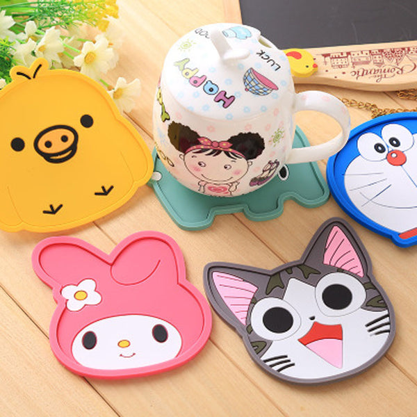 Cute Cartoon Animal Nonslip Silicon Coaster for Cups and Glasses