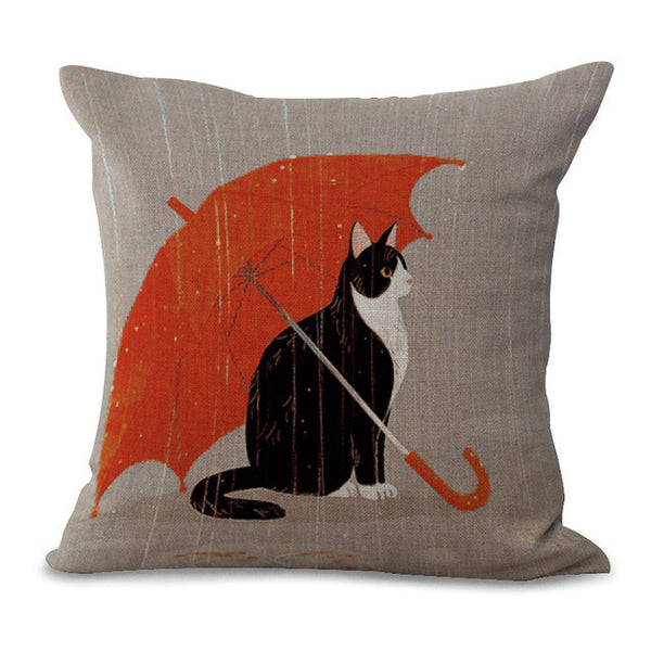 Cartoon Cat Print Pillow Cases