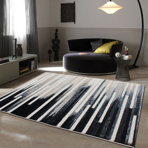 European Style Abstract Black and White Contemporary Style 100% Wool Rug