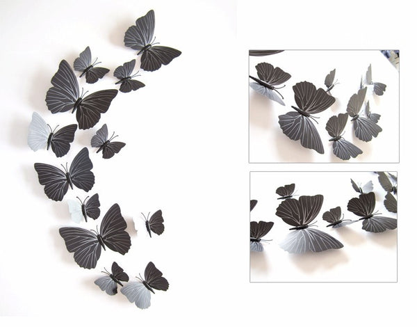 3D Butterfly Wall Decals 12 pcs 6 big + 6 small for Home Decoration