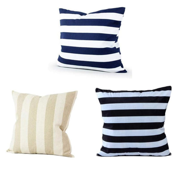 Blue, Black, or Beige Striped Pillow Cases