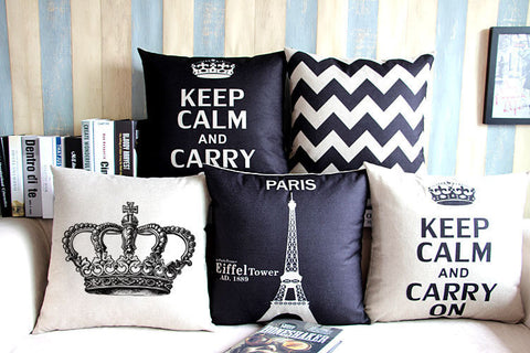 Eiffel Tower and British Themed Linen Pillow Case