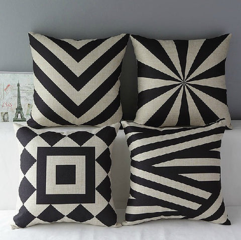 Geometric Black and White Linen Cotton Pillow Cover